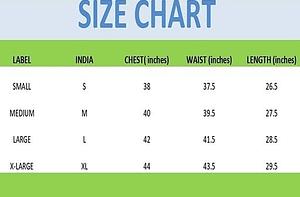 printed shirt size chart