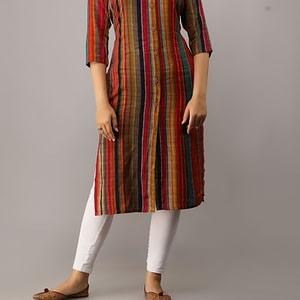 Women Rayon A-line Stripe Kurtis (Single).
