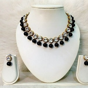 Alloy & Kundan Beads Necklace Combo Sets for Womens.