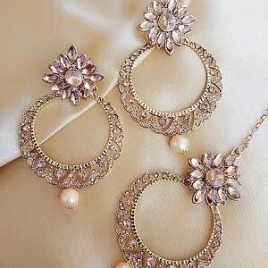 Twinkling Gold Maang Tikka with Earrings Set for Women and Girls