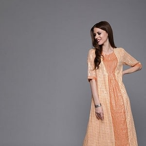 Couture Women Peach-Colored Printed A-Line Dress With Gathers | Western Dress |