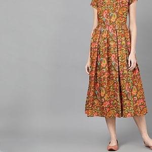 Women Olive Green & Orange Floral Printed Fit and Flare Dress | Western Dresses |
