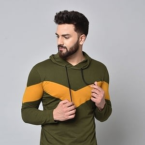 Cotton Blend Men's Hood Tshirts
