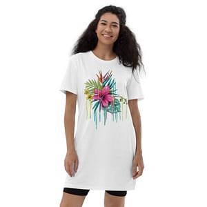 Printed cotton t-shirt dress